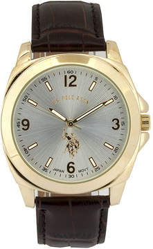 U.S. Polo Assn. USPA Mens Brown Strap Watch-Usc50011