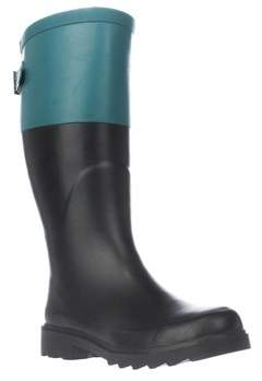 Chooka Color Block Back Gusset Rain Boots, Forest.