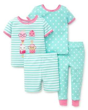 Little Me Baby Girl's Four-Piece Sweets Cotton Pajama Set