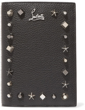 Christian Louboutin - Loubipass Embellished Textured-leather Passport Cover - Black