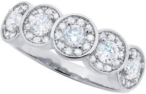 Crislu La Tiara Bezel Set & Halo CZ Scalloped Band Ring