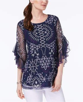 Alfani Embroidered Ruffled-Sleeve Top, Created for Macy's
