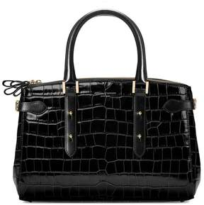Aspinal of London Brook Street Bag In Black Croc With Gold Hardware