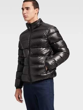 Donna Karan Donnakaran Shiny Nylon Quilted Puffer Jacket Black S