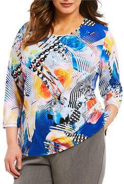 Allison Daley Plus 3/4 Sleeve Printed Crew-Neck Knit Top