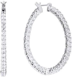 FANTASIA Silver-Tone Cubic Zirconia Hoop Earrings