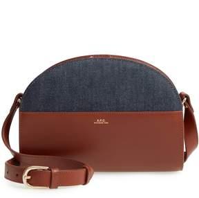 A.P.C. Sac Demilune Leather & Denim Crossbody Bag