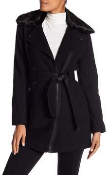 GUESS Faux Fur Trim Faux Leather Belted Coat
