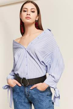 Forever 21 Pinstripe High-Low Shirt