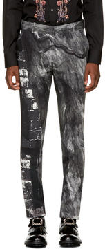 Alexander McQueen Black and White Bird Trousers