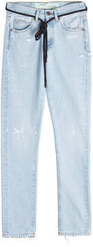 Off-White Distressed Slim Jeans