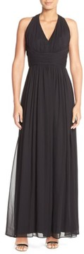 Dessy Collection Women's Ruched Chiffon V-Neck Halter Gown