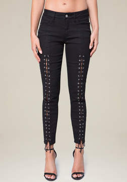 Bebe Front Lace Up Skinny Jeans