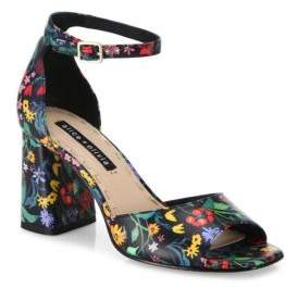 Alice + Olivia Cooper Floral Leather Block Heel Sandals