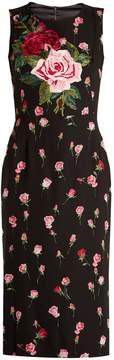 DOLCE & GABBANA Floral-print stretch-silk charmeuse midi dress
