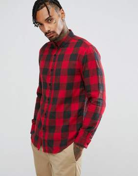 Pull&Bear Regular Fit Checked Shirt In Red