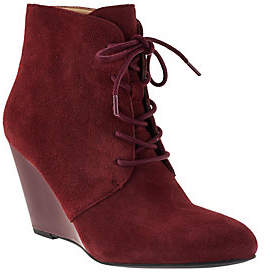 Isaac Mizrahi Live! Lace-up Suede Wedge Boots