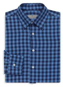 Canali Checkered Long Sleeve Cotton Shirt