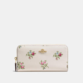 COACH Coach Accordion Zip Wallet With Cross Stitch Floral Print - LIGHT GOLD/CHALK CROSS STITCH FLORAL - STYLE