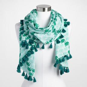 World Market Green and Gold Elephant Scarf