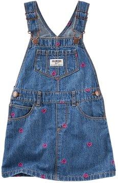 Osh Kosh Toddler Girl Embroidered Hearts Denim Jumper