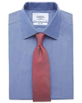 Charles Tyrwhitt Extra Slim Fit Fine Stripe Navy Cotton Dress Shirt French Cuff Size 14.5/33