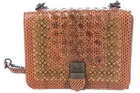 Bottega Veneta 2017 Embellished Intrecciato Snakeskin Shoulder Bag w/ Tags