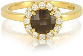 Forzieri 0.24 ct Diamond Pave 18K Gold Ring w/ Smoky Quartz