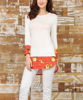 Celeste Ivory & Orange Floral Hem-Accent Tunic - Women