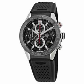 Tag Heuer Carrera Skeleton Dial Automatic Men's Chronograph Rubber Watch CAR201V.FT6046