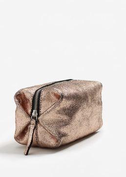 MANGO Metallic leather cosmetic bag