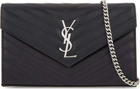 Saint Laurent Monogram leather cross-body bag - BLACK - STYLE