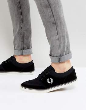 Fred Perry Stratford Suede and Twill Sneakers in Black
