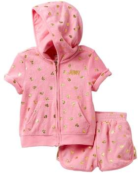 Juicy Couture Pink Foil Print Heart Terry Hoodie & Short Set (Little Girls)