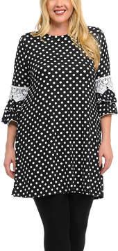 Celeste Black Dot Lace-Accent Tunic Dress - Plus