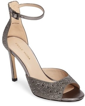 Pelle Moda Women's Crystal Embellished Ankle Strap Sandal