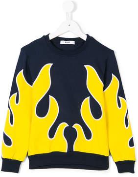 MSGM Fire print sweatshirt
