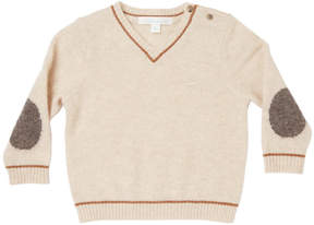 Marie Chantal Baby Boy Mini Cashmere V-Neck Sweater - Oatmeal