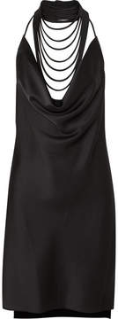 Halston Satin Mini Dress - Black