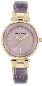 Anne Klein Goldtone Diamond-Accented Lavender Bezel Bracelet Watch