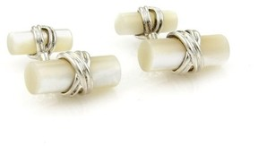 Tiffany & Co. 925 Sterling Silver Mother of Pearl Log Style Stud Cufflinks