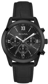 Bulova Men's Stainless Steel and Leather Chronograph Watch
