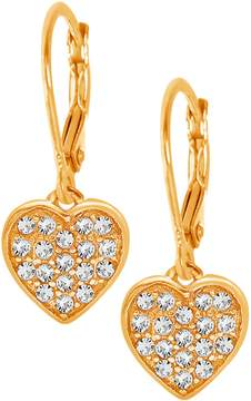 Swarovski Chanteur Jewelry 18K Gold Plated Sterling Silver Pave Crystal Accented Heart Drop Earrings
