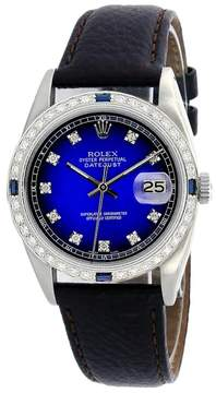 Rolex Datejust 16014 Stainless Steel & Blue Vignette Diamond Dial 36mm Mens Watch