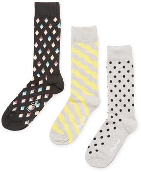 Happy Socks Men's Diamond, Wavy & Dotted Socks (3 PK)