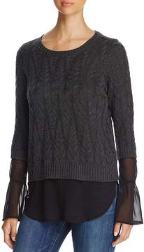 Design History Cable-Knit Faux Underlay Sweater