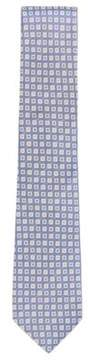 BOSS Hugo Square Embroidered Italian Silk Tie One Size Open Blue