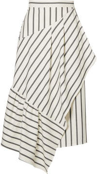 Tibi Lucci Wrap-effect Striped Twill Midi Skirt - White