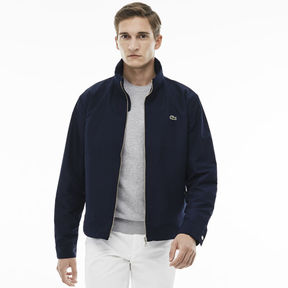 Lacoste Men's Unicolor Nylon Contrasting Accents Hooded Zippered Jacket