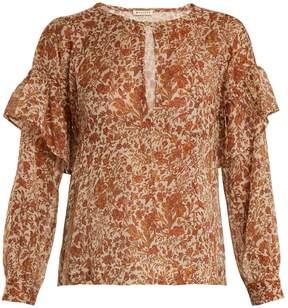 Masscob Ruffle-trimmed cotton-blend blouse
